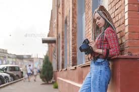 <b>Hipster</b> young <b>photographer</b> girl on the street with <b>retro camera</b> ...
