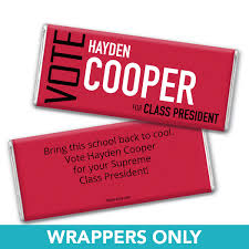 chocolate bar wrappers school election campaign personalized chocolate bar wrappers