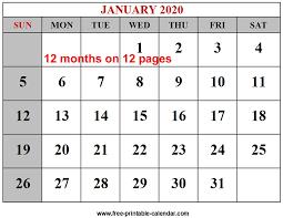 Calendar 2020 Template Free Year 2020 Calendar Templates Free Printable Calendar Com