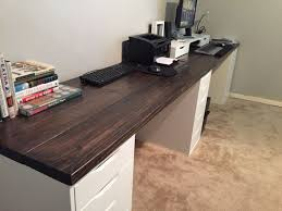 wooden office desk. Fine Wooden 10 Ft Long Wood Office Desk I Used 2x8x10 Pine And Ikea Drawers As A  Base Love That It Has Two Work Stations Inside Wooden Office Desk H