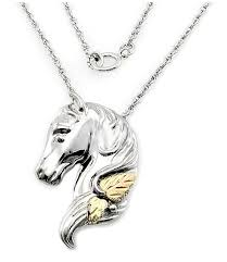 black hills gold on sterling silver horse pendant with chain jewelry farm