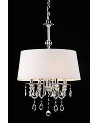 bran 4 light off soft white fabric shade sophisticated chrome crystal chandelier 26 5