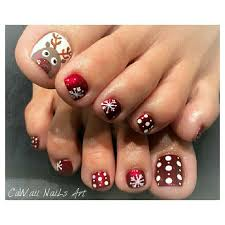 Toe Nail Colors And Designs Reindeer Toenail Design Pretty Toe Nails Toe Nail Art