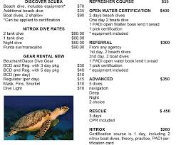 includes all equipment manuals tables and c card fees instructors are cur padi naui nasds or cmas members and are bilingual