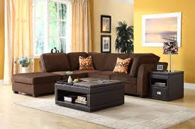 sofa brown color. Modren Brown Nice Yellow Living Room With Wall Paint And Brown Sectional Sofa Throughout Color M