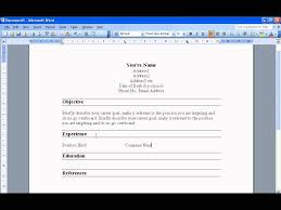 Create A Resume In Word 2003 Youtube Resume Template Downloadable
