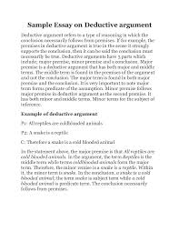 sample essay on deductive argument