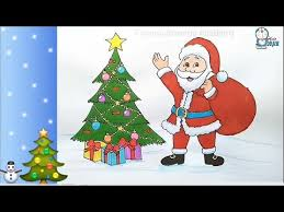 How To Draw Santa Claus With Christmas Tree Step By Step