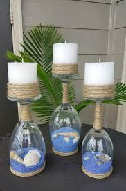 beautiful rope and glass lamp with blue sand