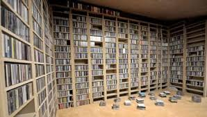 vinyl record stacked on shelves