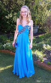 Light Blue Semi Dress Stunning 2017 Light Blue Chiffon Prom Dresses Long Cheap Sweetheart Beaded Ruched Homecoming Holiday Party Gowns Custom Made En101314 Short Lace Dress