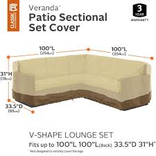the veranda collection v shape sectional patio furniture cover fits v shaped sectional lounge sets 100 l on each side x 33 5 d x 31 h gardelle fabric