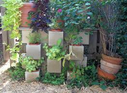 ... Charming Garden Landscaping Decoration With Various Cinder Block Garden  Planters : Cool Accessories For Garden Landscaping ...
