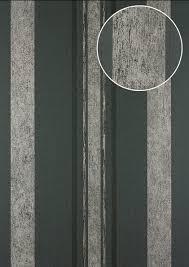 Strepen Behang Atlas 24c 5059 1 Vliesbehang Glad Met Grafisch Patroon En Metalen Accenten Grijs Grafietgrijs Zwart Zilver 7035 M2