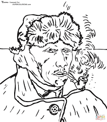 Self Portrait With Bandaged Ear by Vincent Van Gogh coloring page ...