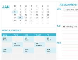 Homework Calendar Excel Homework Schedule