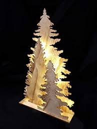 Holz Fensterdeko Tannenbaum Deko Leuchte Mit 15 Led