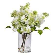 Silk Arrangements For Home Decor Nearly Natural 15 In H White Lilac Silk Flower Arrangement 4805
