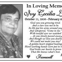 Ivy Lowe Obituary - Death Notice and Service Information