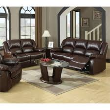 furniture of america jailene 2 piece bonded leather sofa set in brown idf 6556 bwn 2pc
