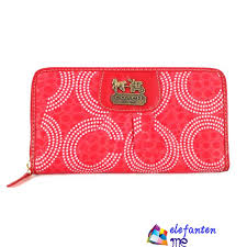 Coach Dot Logo Monogram Large Wallets Red