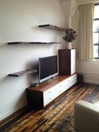 live edge walnut floating shelving custom wood white console reclaimed flooring client condo in the pearl custom wooden shelves