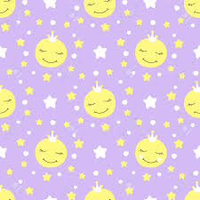 Moon Pattern Amazing Cute Baby Moon Pattern Vector Seamless Princess Print With Eyelash