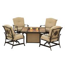 hanover outdoor furniture traditions 5 piece aluminum frame patio conversation set with tan cushions