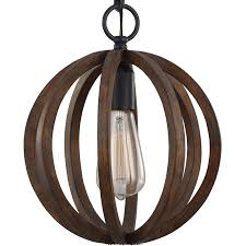 elstead feiss allier mini pendant weather oak wood antique forged iron