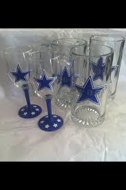 hand painted dallas cowboys beer mugs and wine gl by samantha blair