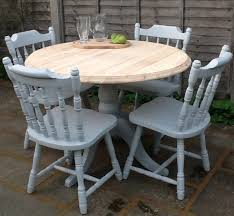 pine painted round dining table and 4 chairs dining set kitchen table and 4