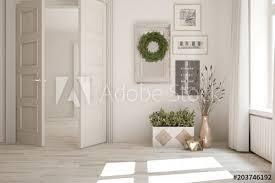 white empty room with open door and home decor scandinavian interior design 3d ilration