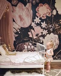 Gaaf Donker Behang Met Roze Bloemen Prinshof Boven Babykamer