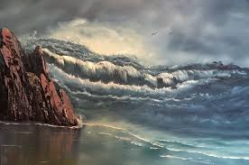 raging sea everett boyer bob ross style paintings