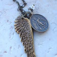 st michael necklace angel wing