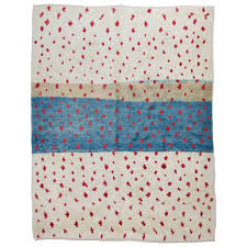 contemporary moroccan rug in blue red and ivory for