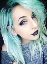 alternative black black lipstick blue eyes earrings emo eye makeup eyeliner fashionable gauges goth green hair grunge hair in lips