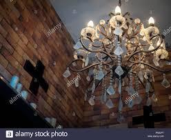 Alte Vintage Kristall Kronleuchter Lampe Mit Spinnennetz An