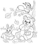Животные осенью раскраска