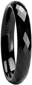 GESTALT COUTURE Faceted <b>Black Ceramic Ring</b> - <b>4mm</b>. Comfort Fit.