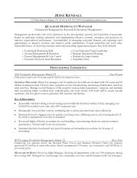 Executive Resume Objective Examples Management Hospitality For Word