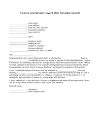 finance coordinator cover letter template sample