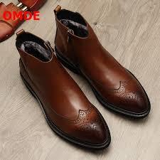 <b>OMDE</b> New Fashion Warm Winter Boots Men <b>Pointed</b> Toe Brogue ...