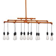 custom made industrial rustic copper pipe chandelier 12 light