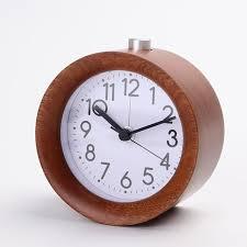silent table snooze rustic alarm clock handmade small round bedroom light wood z alarm clocks
