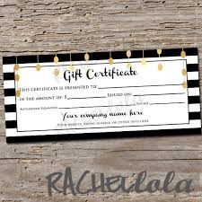 Personalized Gift Certificates Template Free Amazing Custom Black White And Gold Printable Gift Certificate Etsy