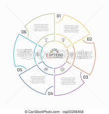 6 Piece Pie Chart Template Thin Line Pie Chart Infographic Template With 6 Options Vector Illustration