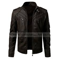 mens vintage brown leather er motorcycle jacket