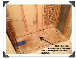 make sure the suloor isn t damaged and is sy for the new bathtub