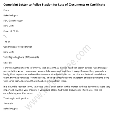 Compliant Letter Format Complaint Letter To Police Station For Loss Of Documents